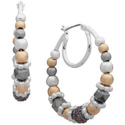 Nine West Tri Tone Beaded Hoop Earrings