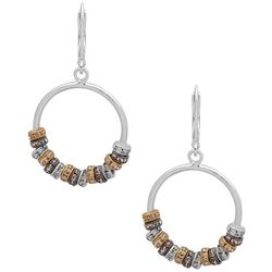 Nine West Tri Tone Hoop Drop Earrings
