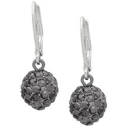 Nine West Silver Tone Pave Rhinestone Ball Drop Earrings
