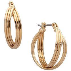 Nine West Gold Tone Double Twisted Hoop Earrings