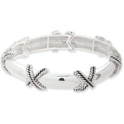 Nine West Silver Tone Criss Cross Rope Bracelet