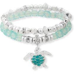 Nine West Sea Turtle Charm Beaded Bracelet Set