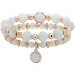 Nine West White & Gold Tone Stretch Bracelet Set