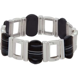 Nine West Black & Silver Tone Stretch Bracelet