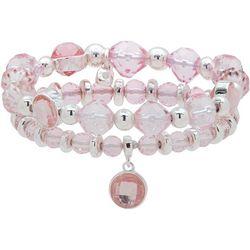 Nine West Pink & Silver Tone Stretch Bracelet Set
