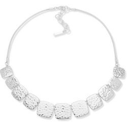 Nine West Hammered Silver Tone Square Front Necklace