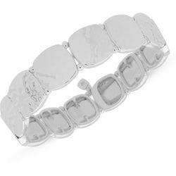 Nine West Silver Tone Hammered Squares Stretch Bracelet