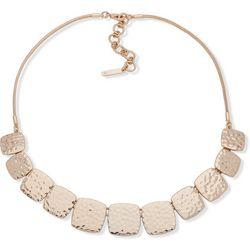 Nine West Hammered Gold Tone Square Front Necklace