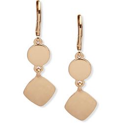 Nine West Gold Tone Circle & Square Disc Drop Earrings