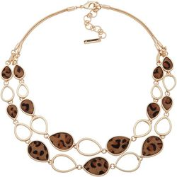 Nine West Cheetah Print Gold Tone Teardrop Necklace