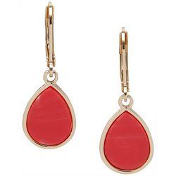 Nine West Coral Pink & Gold Tone Teardrop Earrings