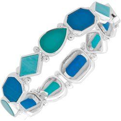 Nine West Silver Tone & Blue Stretch Bracelet