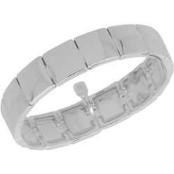Nine West Silver Tone Squares Stretch Bracelet