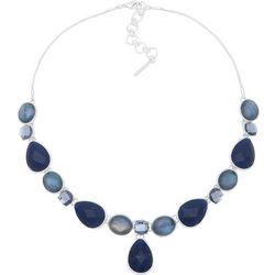 Nine West Blue Multi-Faceted Stones Necklace