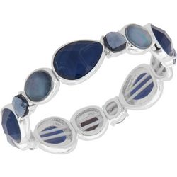 Nine West Multi-Faceted Stones Silver Tone Stretch Bracelet