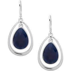 Nine West Multi-Faceted Blue Stone Teardrop Earrings