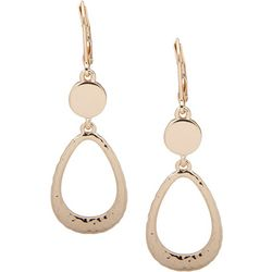 Nine West Gold Tone Open Teardrop Leverback Earrings