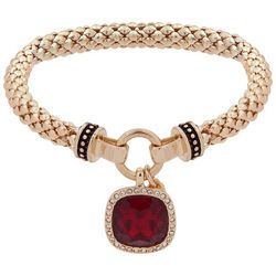Nine West Red & Rhinestone Gold Tone Stretch Bracelet