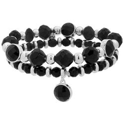 Nine West 2-pc. Black Beaded Stretch Bracelet Set