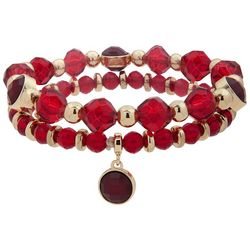 Nine West 2-pc. Red Beaded Stretch Bracelet Set