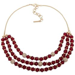 Nine West Red Beaded Triple Row Gold Tone Necklace