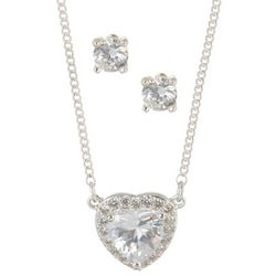 Nine West CZ Heart Silver Tone Necklace Set