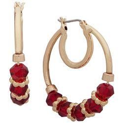 Nine West Gold Tone Red Beaded Hoop Earrings