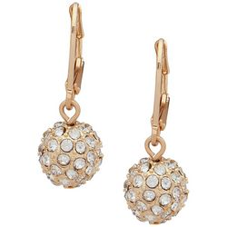 Nine West Gold Tone Pave Rhinestone Ball Drop Earrings