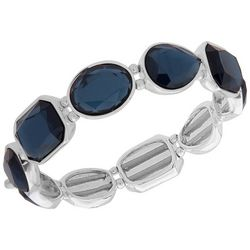 Nine West Multi-Faceted Blue Stones Stretch Bracelet