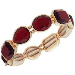 Nine West Multi-Faceted Red Gold Tone Stretch Bracelet