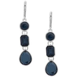 Nine West Blue Stones Linear Silver Tone Earrings