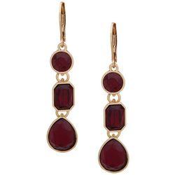 Nine West Triple Drop Linear Red Stone Earrings