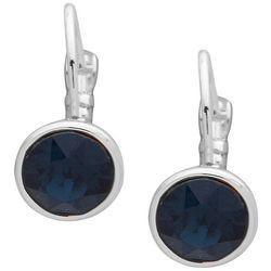 Nine West Blue Silver Tone Leverback Earrings