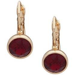 Nine West Red Stones Gold Tone Leverback Earrings