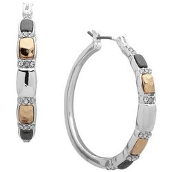 Nine West Tri Tone Rhinestone Embellished Hoop Earrings