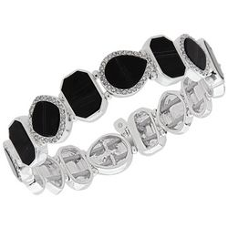 Nine West Black Stone & Rhinestone Stretch Bracelet