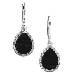 Nine West Jet Black & Rhinestone Teardrop Dangle Earrings
