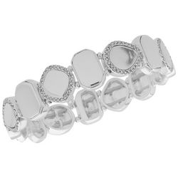 Nine West Silver Tone & Rhinestone Stretch Bracelet