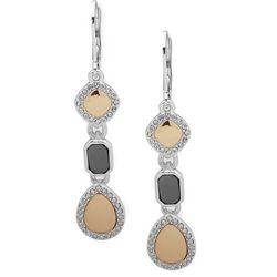 Nine West Tri Tone Linear Rhinestones Earrings