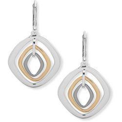 Nine West Tri Tone Orbital Leverback Earrings