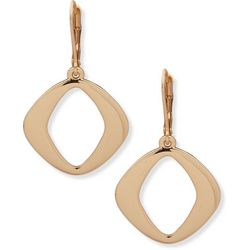 Nine West Polished Metal Gold Tone Square Earrings