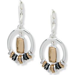 Nine West Tri Tone Rectangle Hoops Rondelle Earrings