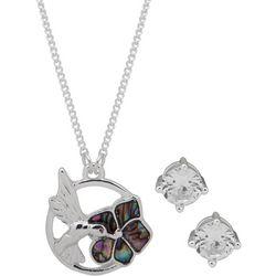 Nine West Hummingbird & Flower Necklace Set
