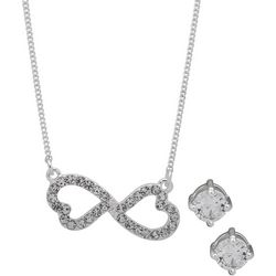 Nine West Double Heart Necklace & Earring Set