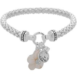 Nine West Carved Flower Charm Stretch Bracelet