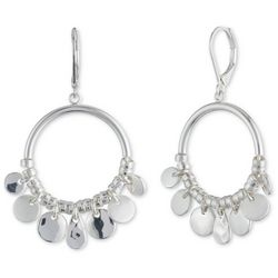 Nine West Silver Tone Shaky Discs Hoop Drop Earrings