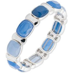Nine West Blue & Silver Tone Square Beaded Stretch Bracelet