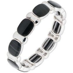 Nine West Black & Silver Tone Square Beaded Stretch Bracelet