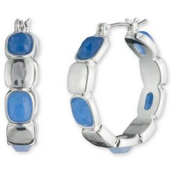 Nine West Silver Tone & Blue Stone Hoop Earrings