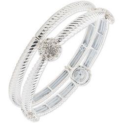 Nine West Textured & Pave Rhinestones Bracelet Set